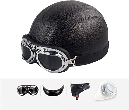 Casco Moto Retro Abierto, ECE Homologado,Profesional Half Moto Helmet para Mujer y Hombre, Adultos Confortable Casco para Street Bike Cruiser Chopper Moped Scooter: Amazon.es: Hogar