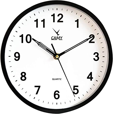 Amazon Com Camy Small Wall Clock 9 Inch Silent Non Ticking Quartz Battery Operated Round Easy To Read Home Office Kitchen School Clock Black Home Kitchen