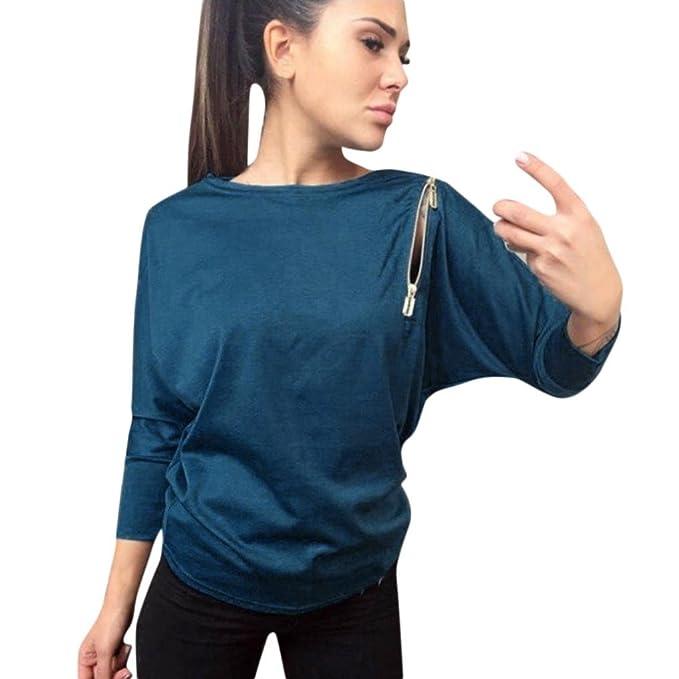 Yannerr mujer cuello redondo cremallera en hombro marcados casual suelta manga larga básica inferior camiseta tops