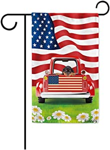 BAGEYOU Retro Red Patriotic Dog Truck Garden Flag Rottweiler Puppy 4th of July Rustic Daisy Decor Banner for Outside 12.5X18 Inch Print Double Sided