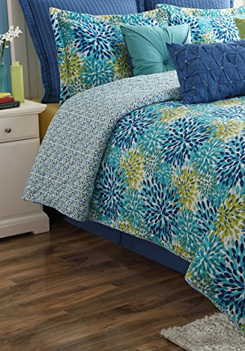 Ava Comforter Set (Fiesta 4 Piece Calypso Comforter Set with Bed Skirt & 2 Pillow Sham, Queen)
