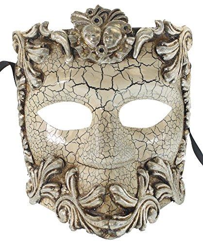 (RedSkyTrader Womens Greek God Bauta Mask One Size Fits Most Silver,)