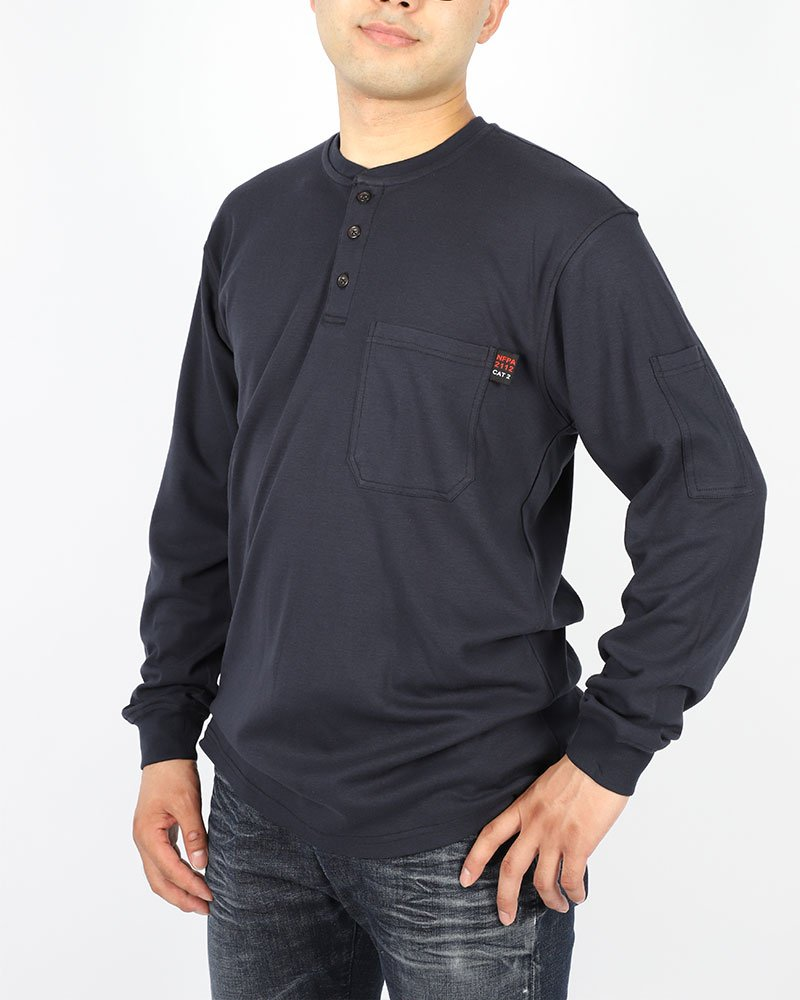 Cotton Flame Resistant Knit Safety Henley Work T-Shirt by Frecotex (Image #2)