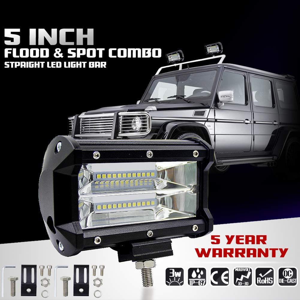 Meiyiu High Power Double Row LED Light Cross-Country Lamp Waterproof IP67 Enhanced Lighting 72W for SUV Truck 5Inch