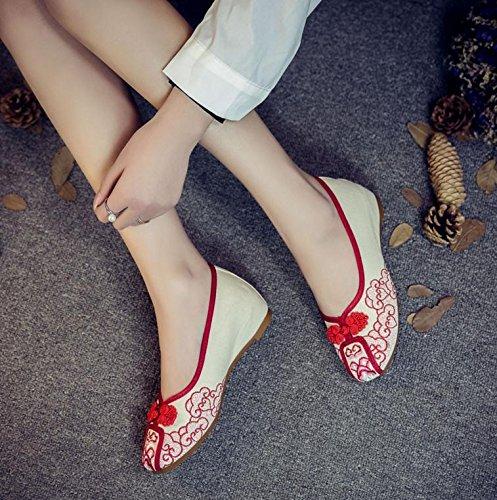 WXT Zapatos bordados, lenguado de tendón, estilo étnico, zapatos de tela femenina, moda, cómodo, casual Red
