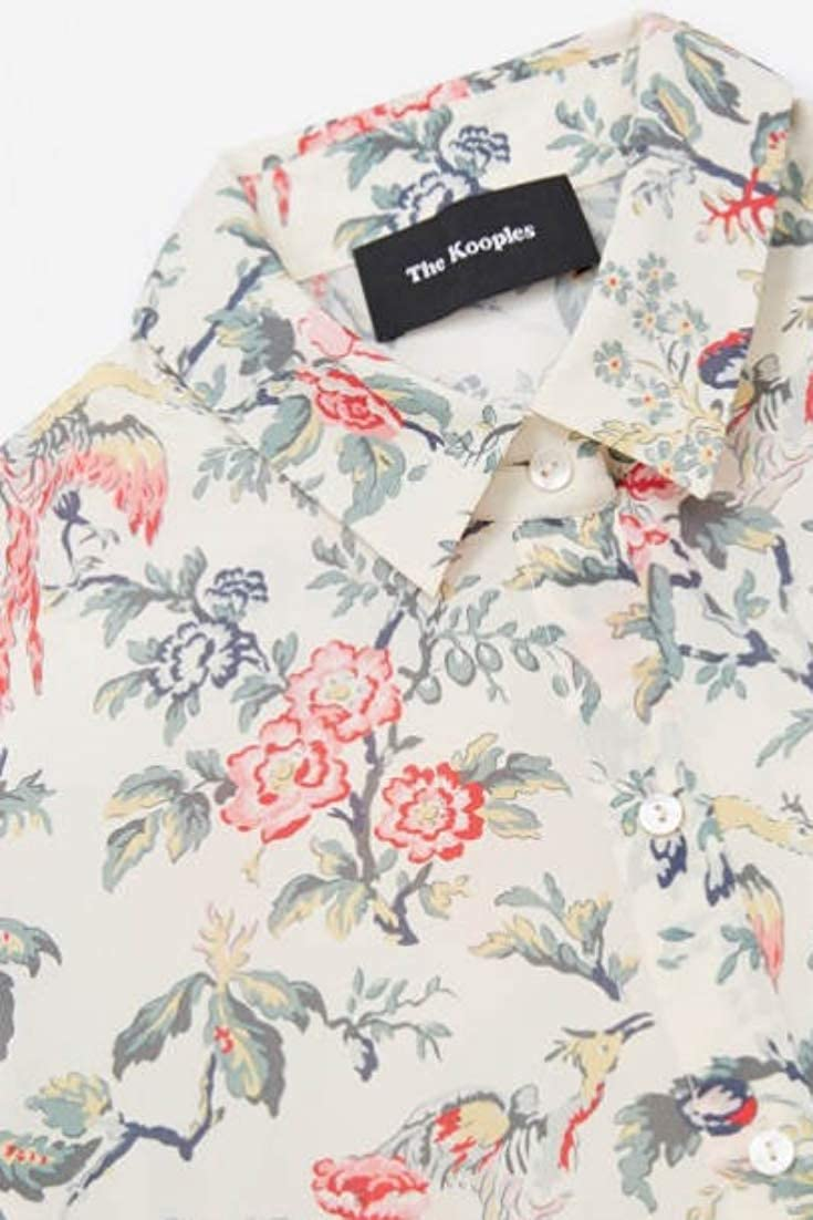 86d2794d Kooples Flying Peacock Floral Silk Button Up Long Sleeve Off White Shirt at  Amazon Women's Clothing store: