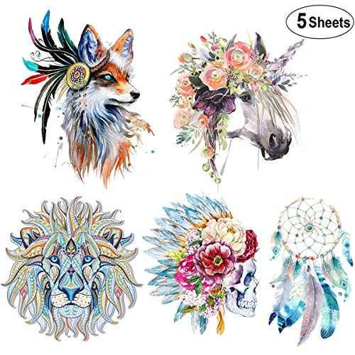 - (5 Sheets) Large Iron On Patches,Akwox Flower Horse Skull Pattern Dreamcatcher Lion Wolf Thermal Transfer Patches Washable Heat Transfer Stickers for DIY Women Men Kids T-Shirt,Jeans,Bags