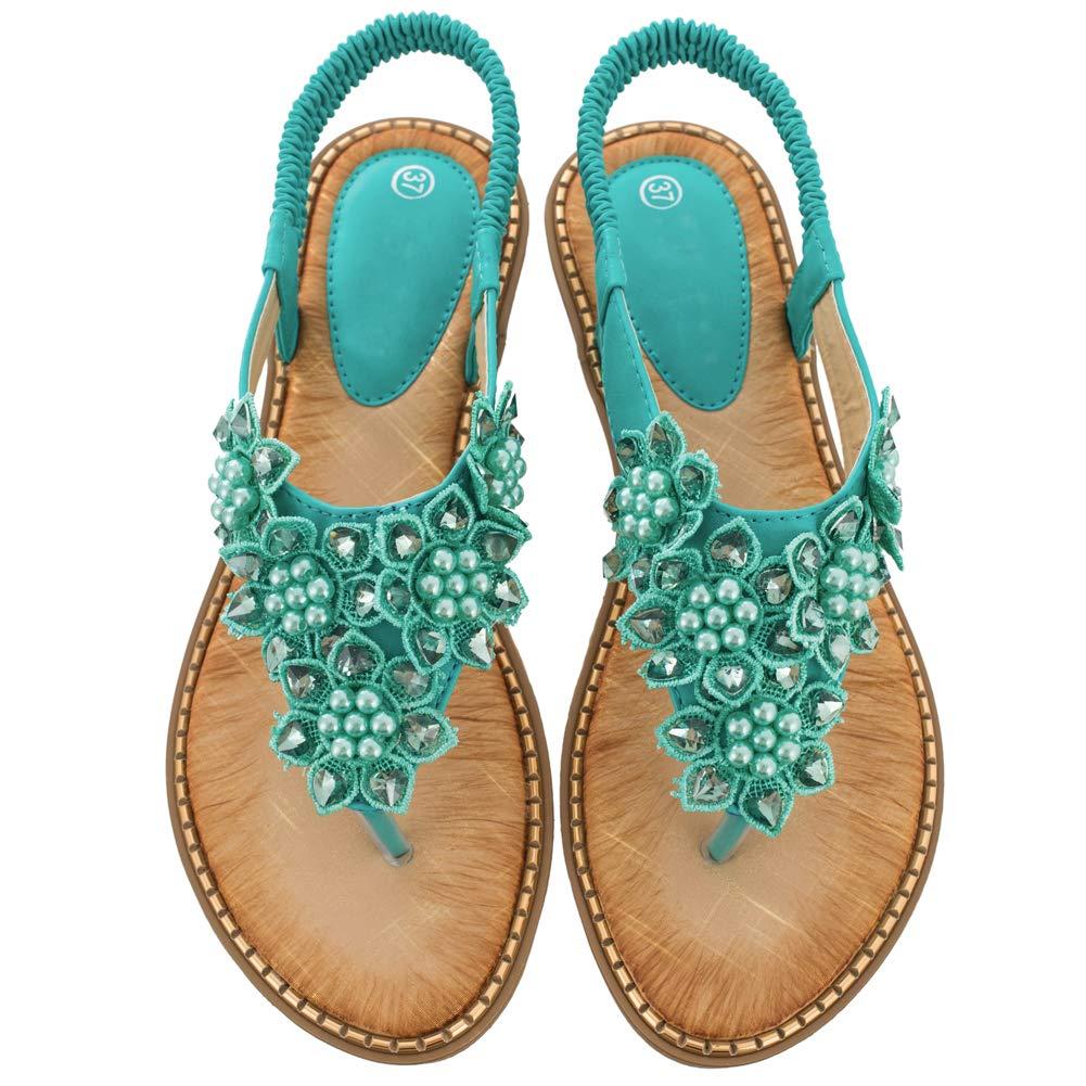 Women's Green Rhinestone Pearl Flower Back Strap Beach Flat Sandals