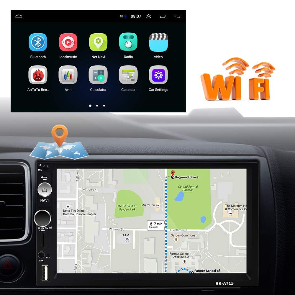 Cam/éra Arri/ère Autoradio Android 2 Din GPS CAMECHO /Écran Tactile Capacitif 7 Pouces Bluetooth WiFi USB SD Lecteur de Voiture St/ér/éo Miroir Lien