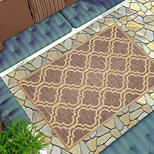 (Gardenia Collection Outdoor & Indoor Area Rug | Mocha Brown Trellis 7'10