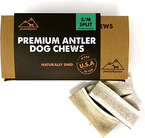 peaksNpaws Premium All-Natural Grade A Split Elk Antlers for Dogs Naturally Shed in The Rocky Mountains No Additives, No Preservatives – Healthy and Delicious Treat – Made in USA