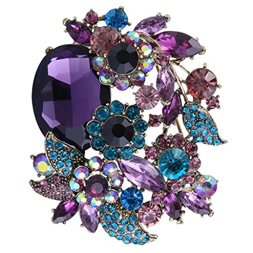 EVER FAITH Rhinestone Crystal Party Flower Leaf Vine Brooch Amethyst Color Antique-Gold-Tone
