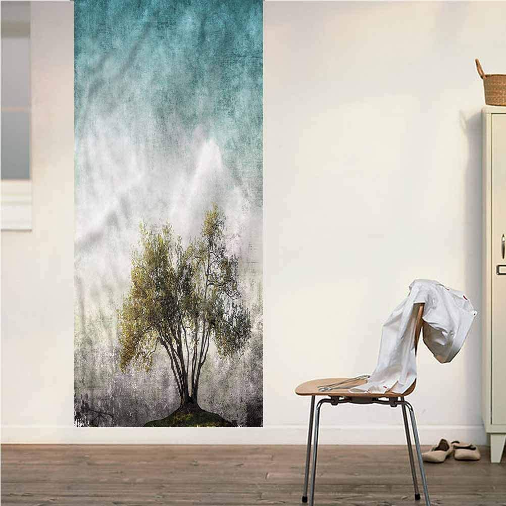 Poppy Ramsden Tree of Life ONE Piece Door Stickers Wall Murals,Grungy Sky Landscape Peel and Stick Vinyl Door Mural Decals for Door/Wall/Fridge,32x95 Inch