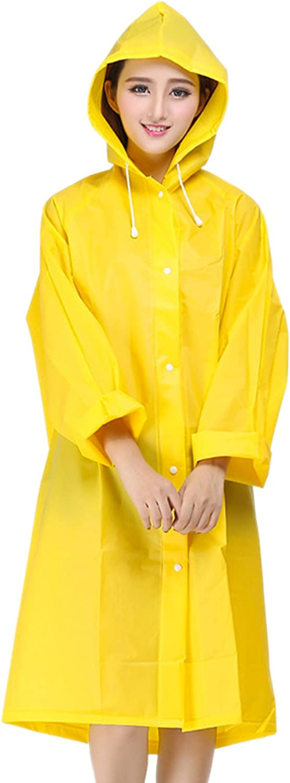 WSLCN Unisex EVA Hooded Raincoat Translucent Frosted Thick Foldable Rain Poncho