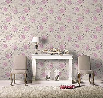 Perfect carta da parati fiori shabby stile country provenzale design floreale con rose colorate - Camera da letto stile inglese ...