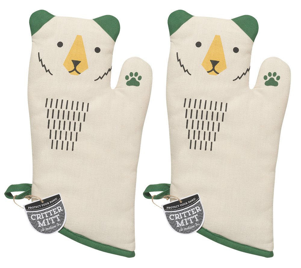 Now Designs 2032001aa Critter Oven Mitt, Set of Two, Boris Bear, 2 Piece