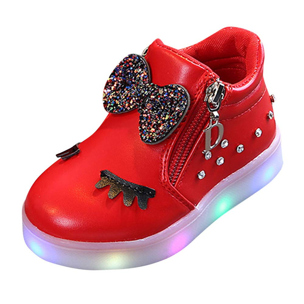 callm Luminous Shoes Kids Baby Girls Crystal Bowknot LED Boots Sport Shoes Sneakers