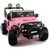 12 Volt Explorer Truck Battery Powered Led Wheels 2 Seater Children Ride On Toy Car for Kids Leather Seat MP3 Music Player with FM Radio Bluetooth R/C Parental Remote (Pink)