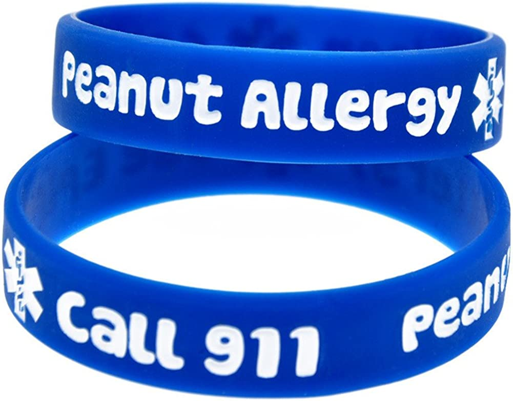 Sunling 2 4 Pack Kids Friendly Food Peanut Allergy Awareness Medical Alert Bracelet for Children Silicone Emergency Wristband,15cm-Wonderful Life Saver