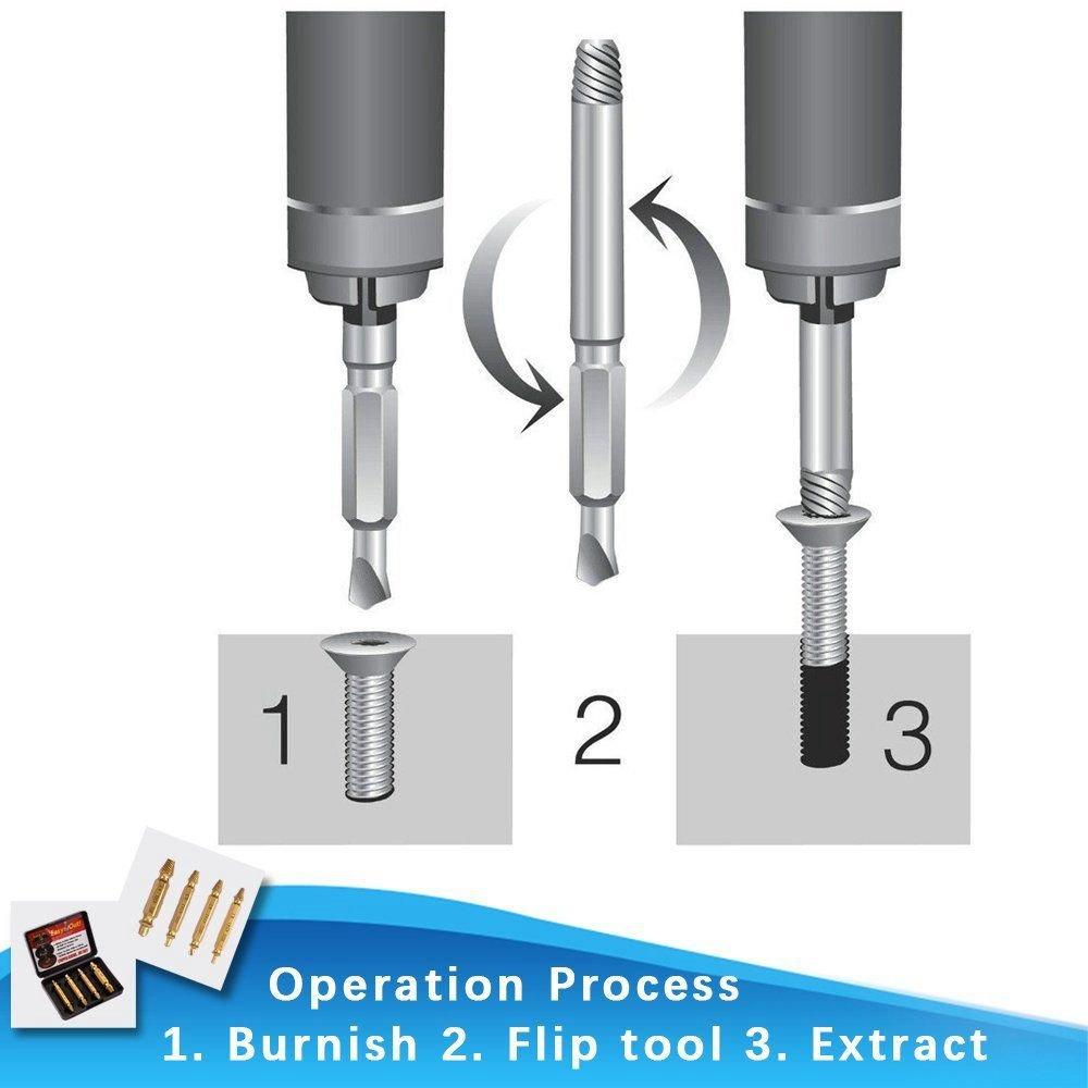 ensemble de 4 dissolvants denudes la durete est 62-63hrc SODIAL Ensemble dextracteur de vis endommages Retirer facilement la vis endommagee