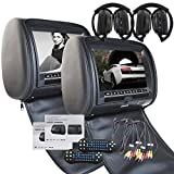 2 IR Headphone as free gitf! Pair of 9 Inch HD 1080P Digital TFT LCD Screen Auto Monitor Car Headrest DVD Player with Game Dis Remote Control support Auxiliary Input&output