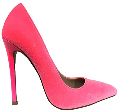 bcaa6d12f Amazon.com | Shoe Republic Naomi Velvet Pointed Toe Stiletto High Heel Slip  On Pumps Hot Pink | Pumps