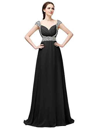 Monalia Womens Beaded Long Prom Dresses 2018 Formal Bridesmaid Gown Size 2 Black
