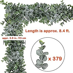 "Supla 8.7' Long 5.9"" Wide Faux Eucalyptus Leaves Garland Fake Artificial Hanging Eucalyptus Greenery Garland in Grey Green for Wedding Holiday Decorations UV Protected Indoor Outdoor 2"