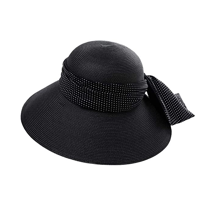 Amazon.com  JU FU Hat - Women s Straw Hat Summer Travel Sun Protection Sun  Visor Foldable Anti-UV Beach Hat Wide Side Large Bow Decoration Sun Hat (3  ... 45c53bcdf006