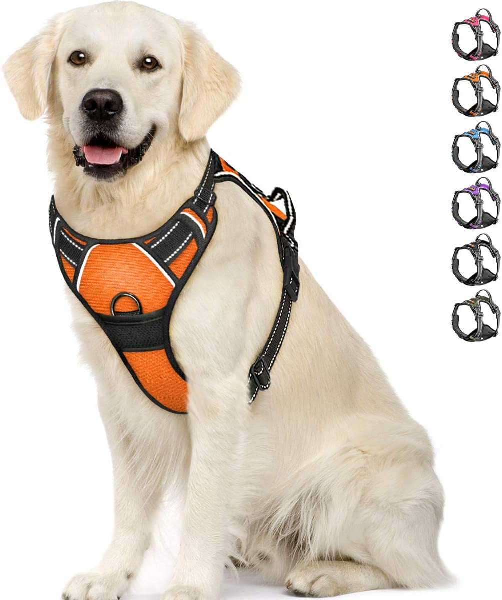 IPETSZOO Dog Harness No-Pull Pet Harness Adjustable Outdoor Pet Vest 3M Reflective Oxford Material Vest for Dogs Easy Control for Small Medium Large Dogs