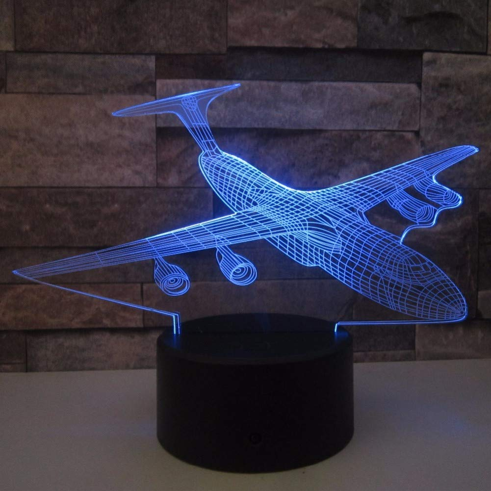 KKXXYD Aircraft 3D Night Light Led Remote Touch Airplane Table Lamp Fighter 3D Lamp 7 color Changing Batteries USB Indoor Lamp