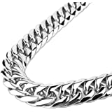 GZMZC 9/11/13/16/19/21mm Silver Stainless Steel Cut Cuban Curb Link Chain Mens Bracelet Necklace 7-40inches