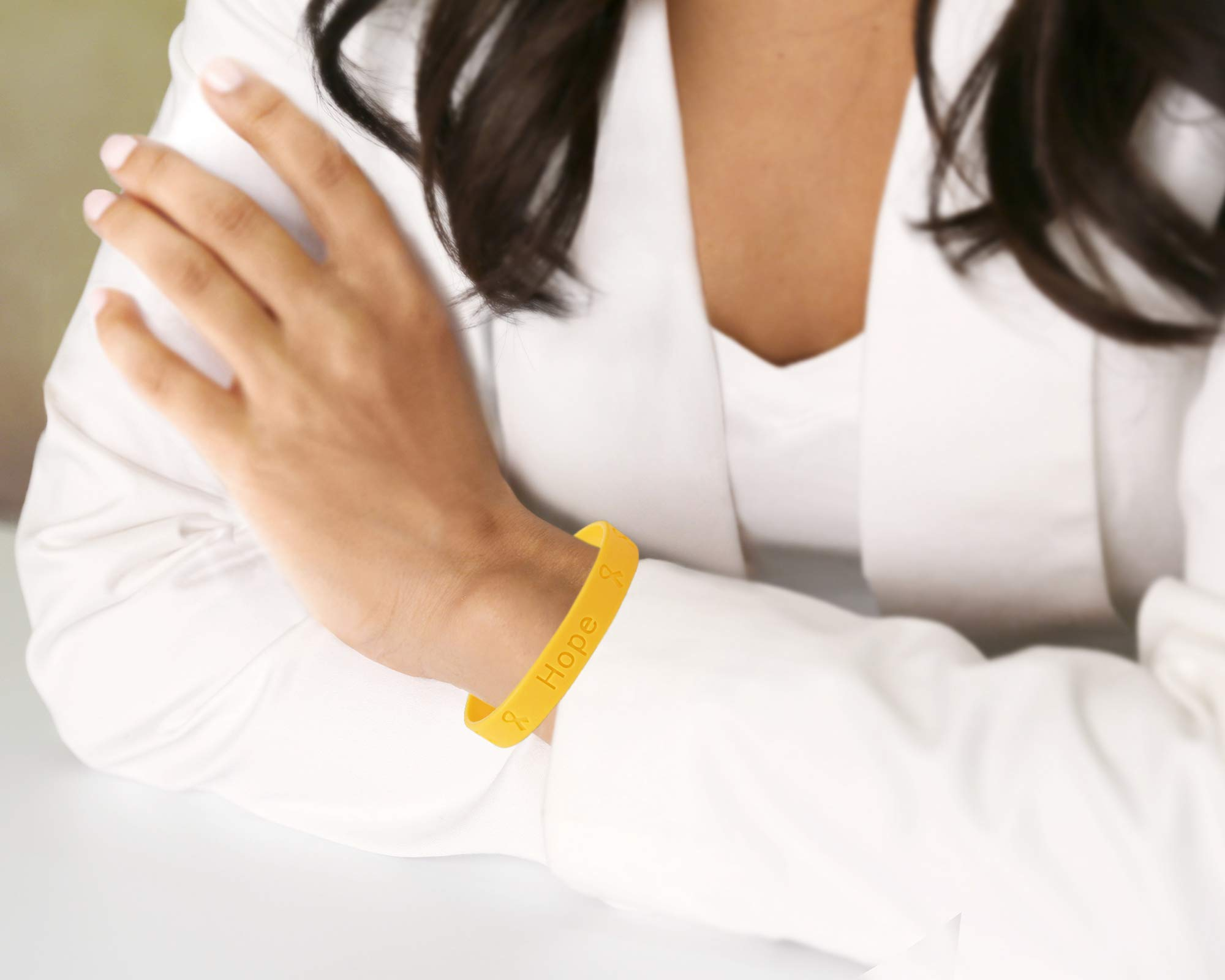 50 Pack Gold Ribbon Awareness Silicone Bracelets (50 Adult Bracelets In a Bag) by Fundraising For A Cause (Image #4)