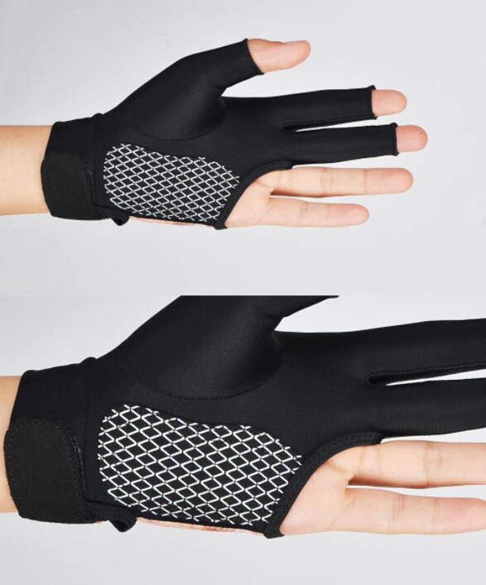 Gtopart High Elastic Unisex 3 Finger Guantes de Billar Mano Izquierda Respirable Antideslizante C/ómodo