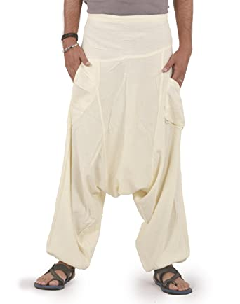 THS Mens Wide Leg Baggy Linen Pants One Size (Cream / Off - White ...