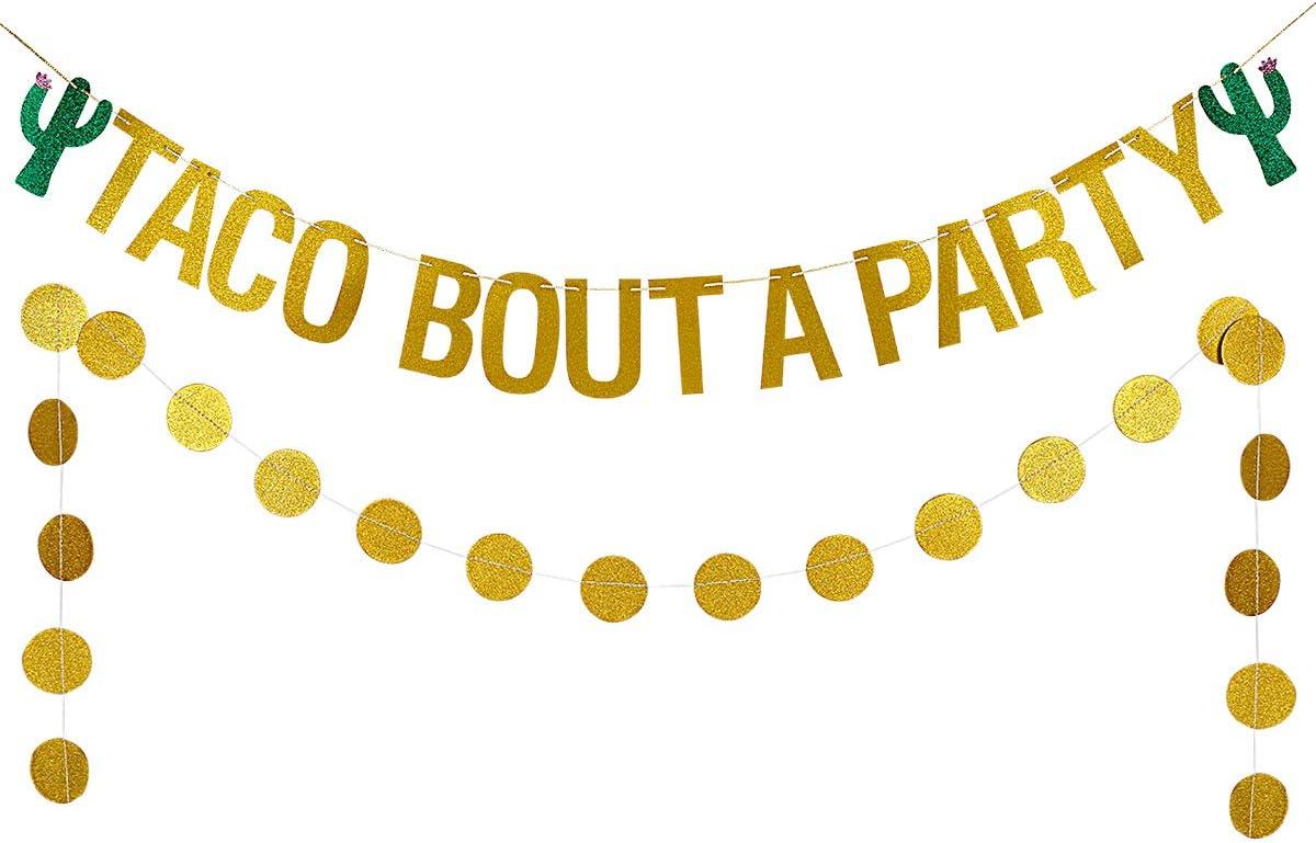Gold Glittery Taco Bout a Party Banner Cinco De Mayo Party Decor,Mexican Fiesta Party Decor,Mexico Theme Cactus Decor