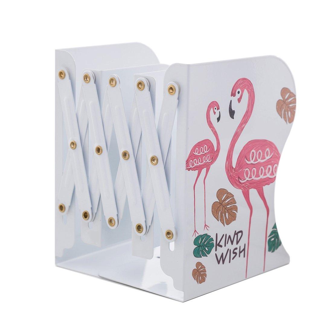 JIARI Fancy Pink Flamingo Pattern Adjustable Bookends Decorative Metal Bookend Heavy Duty Book Holder Book Stand Office Desk Shelf (Style2)