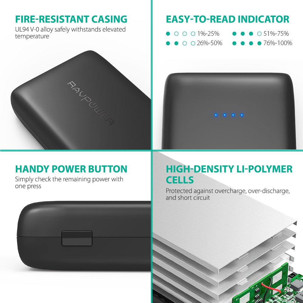 Portable Charger 32000 RAVPower 32000mAh Battery Pack 6A Output, USB Power Banks for iPhone Xs, iPhone X, Galaxy and More (3-Port, 2.4A Input, Triple iSmart 2.0 USB) by RAVPower (Image #5)