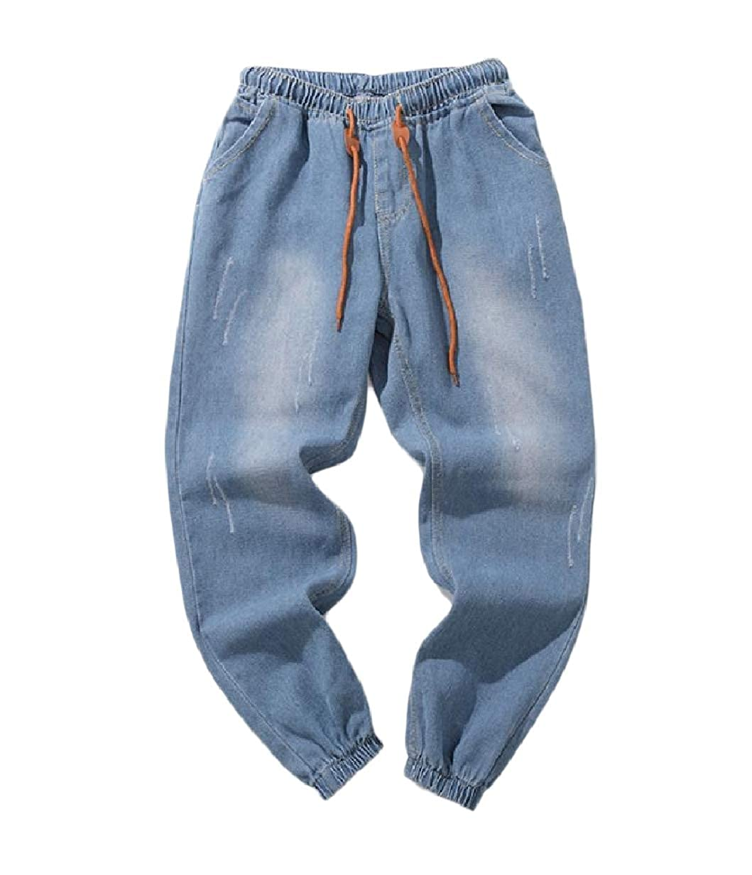 VITryst-Men Elastic Drawstring Rugged Wear Denim Washed Plus-Size Jeans