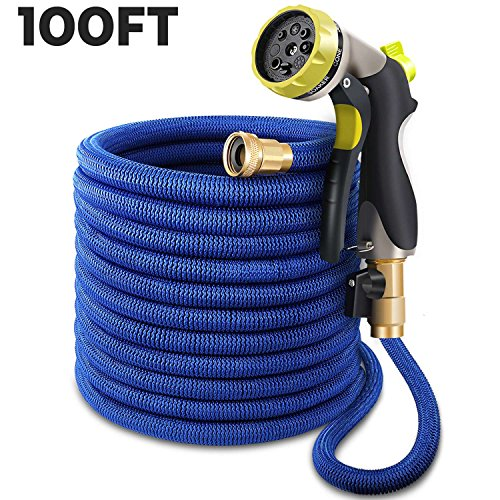 100ft Garden Hose, Upgraded Expandable Water Hose, Flexible Expanding Pocket Hose with 3/4 All Brass Fittings, Durable Double Latex Core, Extra Strength Fabric, 8 Mode Zinc Alloy Spray Nozzle, Blue by XJ Tech