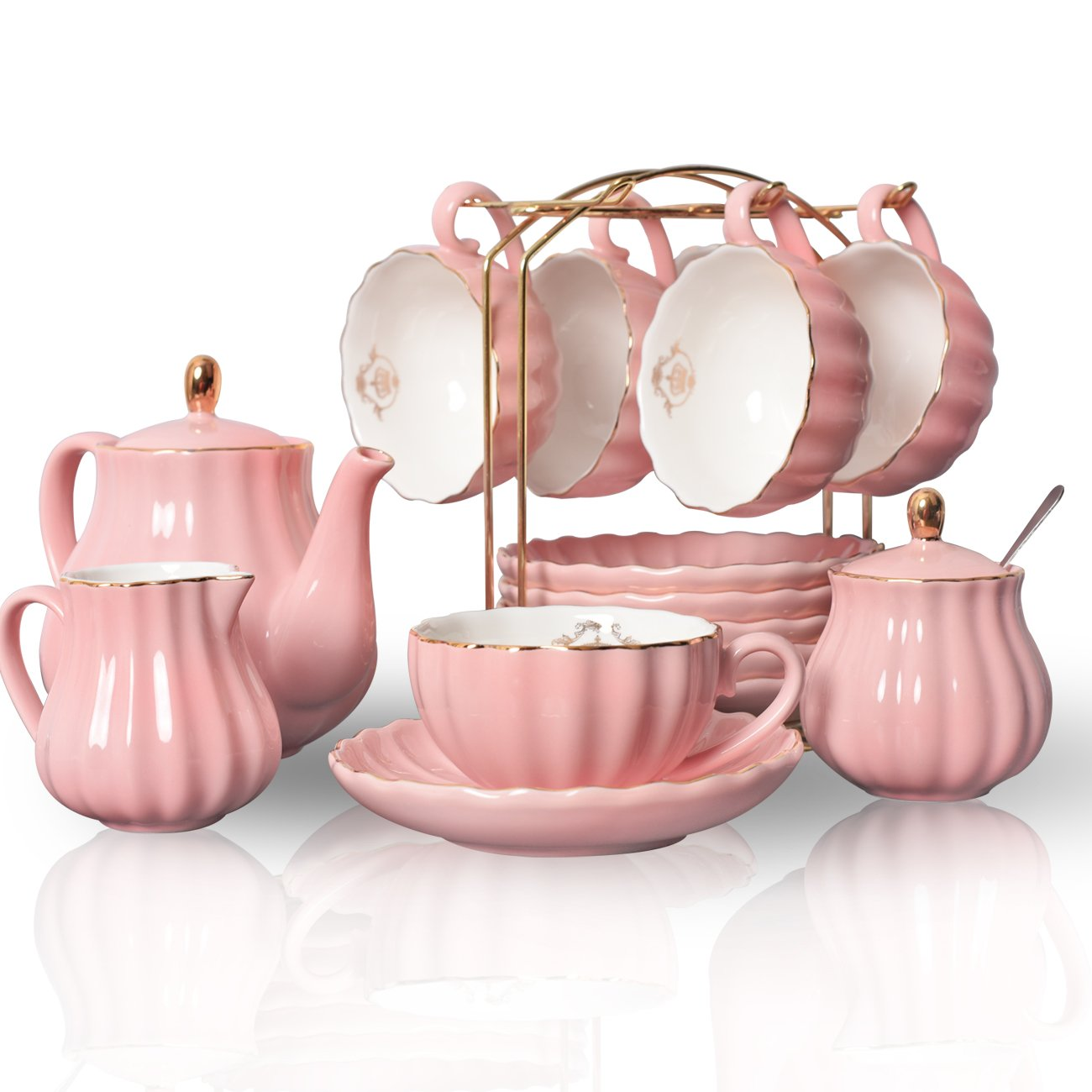 Porcelain Tea Sets British Royal Series, 8 OZ Cups& Saucer Service for 6, with Teapot Sugar Bowl Cream Pitcher Teaspoons and tea strainer for Tea/Coffee, Pukka Home (Young Pink)