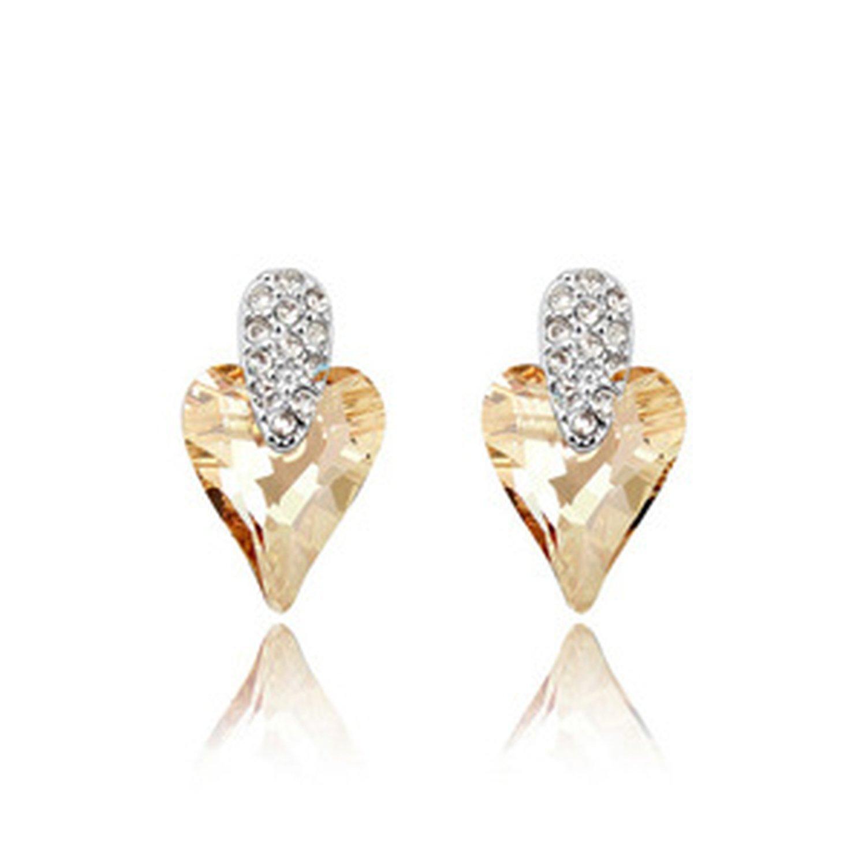 Lady Charming Austrian Crystal Stud Earrings Set Dangle for Women Grils Sea Blue