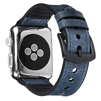 Amazon.com : XBKPLO Compatible for Apple Watch Band Series 4 38mm 40mm, Leather + Silicone Sweatproof Strap Bracelet Series 4/3/2/1 Replacement Sport Cuff ...