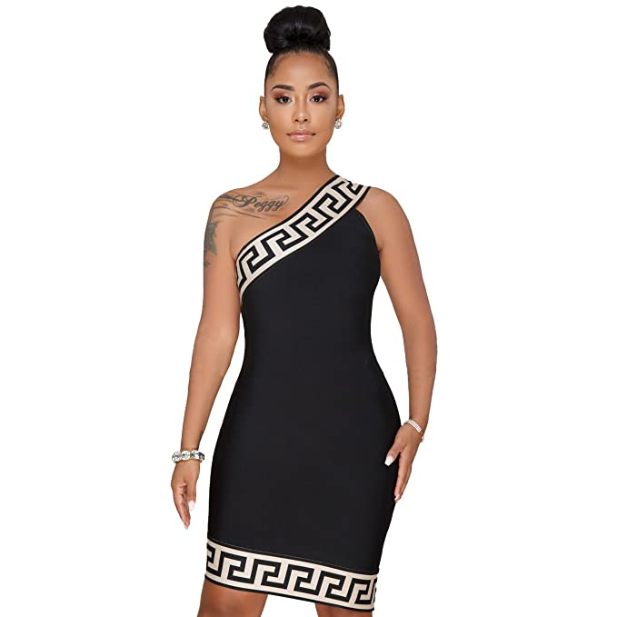 ea1d60a46d8 Sexy Women One Shoulder Side Slit Dress Casual Summer Sleeveless Striped  Dresses Plus Size S Black