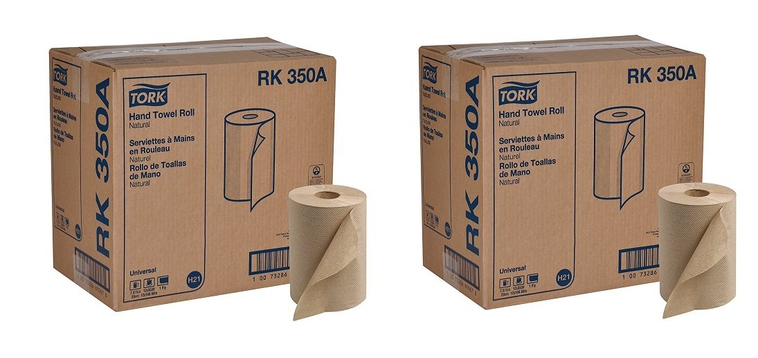 Tork Universal RK350A Hardwound Paper Roll Towel, 1-Ply, 7.87'' Width x 350' Length, Natural, Green Seal Certified (Case of 12 Rolls, 350 per Roll, 4,200 Feet) (2-(Case of 12 Rolls))