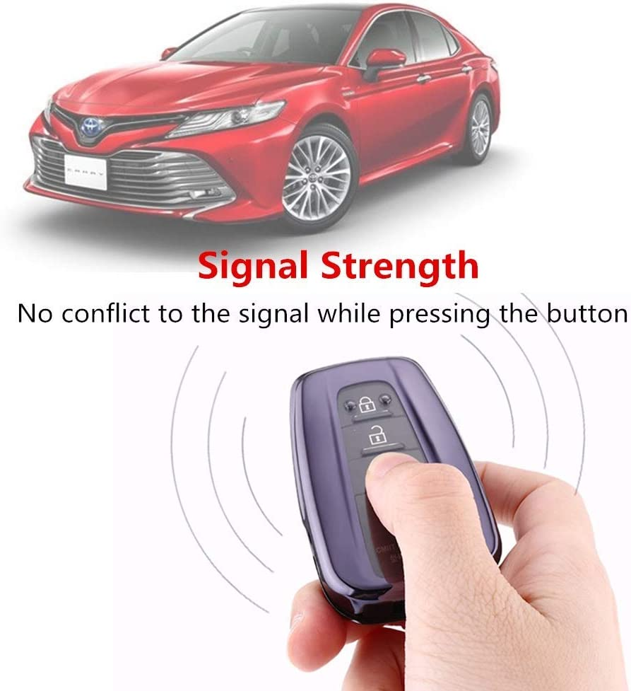 TL for Toyota Key Fob Cover TPU Key Fob Case Sleeve Protector Shell Keyless Remote Control Smart Key Holder with Key Chain for 2018 2019 Toyota Camry RAV4 Avalon C-HR Prius Corolla Red