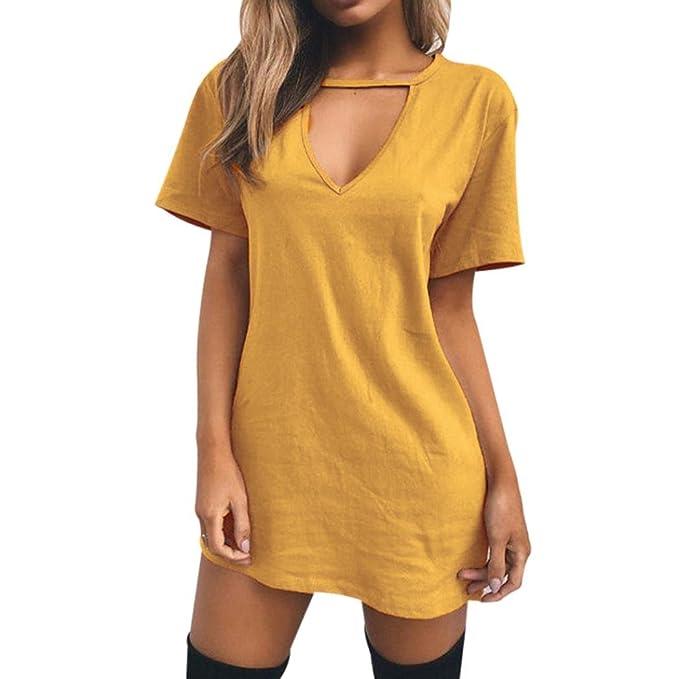 QinMM Camiseta con Cuello EN V Gargantilla Para Mujer, Manga Corta Vestido de Fiesta Casual Superior Superior Mini Blusa T-Shirt: Amazon.es: Ropa y ...