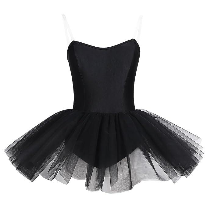YiZYiF Maillot Baile Mujer con Falda Tutú Vestido Chica Negro ...