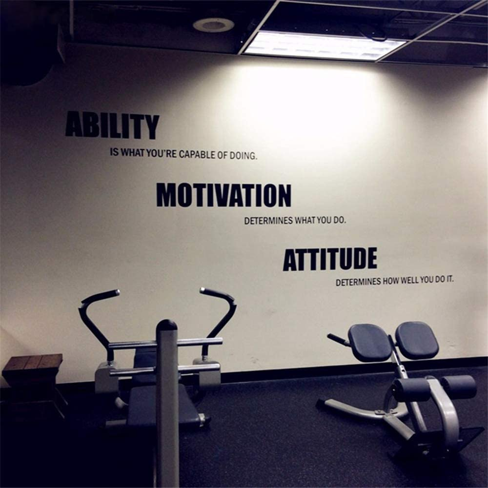 Amazon Com Wall Art Stickers Quotes And Sayings Powerful Motivational Fitness Quotes Gym Poster For Ability Motivation Attitude Gym Decoration Home Kitchen