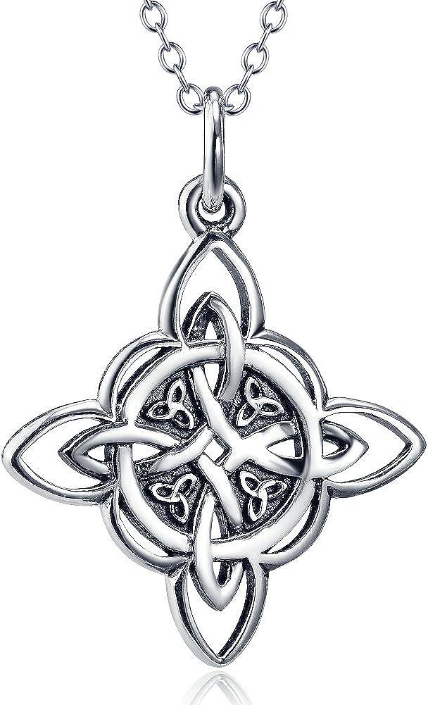 Collar Silver Mountain de plata de ley de 925milésimas, de 45,72 cm de longitud y con colgante de triqueta de nudo celta para la buena suerte